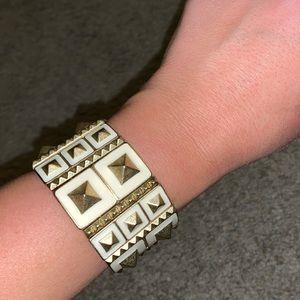 Lia Sophia white and gold stretch cuff bracelet
